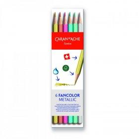 Kredki ołówkowe sześciokątne Caran d'Ache Fancolor, 6 sztuk, mix kolorów