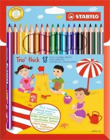 Kredki ołówkowe trójkątne Stabilo Trio thick, grube, 18 sztuk, mix kolorów