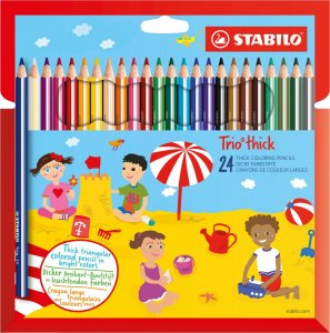 Kredki ołówkowe trójkątne Stabilo Trio thick, grube, 24 sztuk, mix kolorów