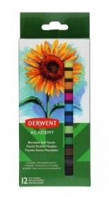 Kredki pastelowe miękkie Derwent Academy, 12 sztuk, mix kolorów