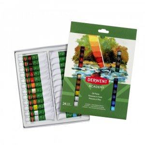 Farby olejne Derwent Academy, 12ml, 24 sztuki, mix kolorów