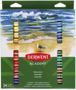 Farby akwarelowe Derwent Academy, 12ml, 24 sztuki, mix kolorów