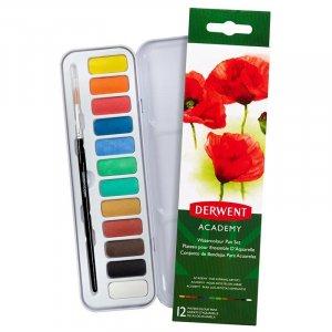 Farby akwarelowe Derwent Academy, 12 sztuk, w kasetce, mix kolorów