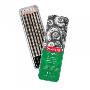Ołówek Derwent Academy, w pudełku metalowym, 3B-2H, 6 sztuk, szary