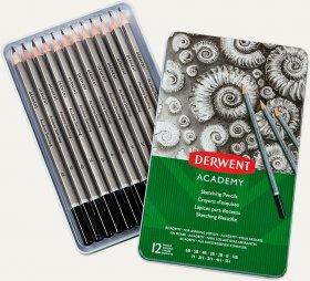 Ołówek Derwent Academy, w pudełku metalowym, 6B-5H, 12 sztuk, szary