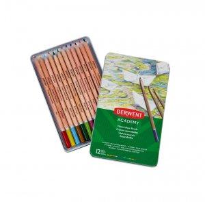 Kredki akwarelowe Derwent Academy, w pudełku metalowym, 12 sztuk, mix kolorów