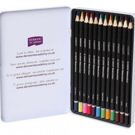 Kredki ołówkowe Derwent Academy, w pudełku metalowym, 12 sztuk, mix kolorów