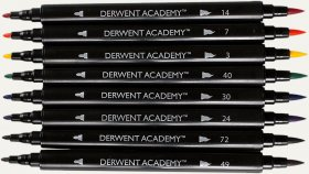 Flamastry dwustronne Derwent Academy, z pędzelkiem, 8 sztuk, mix kolorów