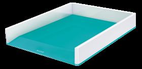 Półka na dokumenty Leitz Wow, A4, plastikowa, dwukolorowa, biało-turkusowy