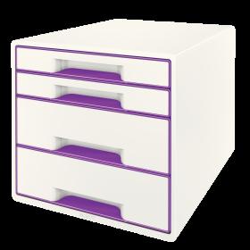Pojemnik  Leitz Wow Cube, z 4 szufladami, A4+, biało-fioletowy