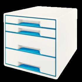 Pojemnik  Leitz Wow Cube, z 4 szufladami, A4+, biało-niebieski