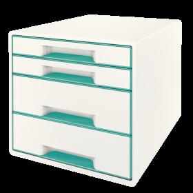 Pojemnik  Leitz Wow Cube, z 4 szufladami, A4+, biało-turkusowy