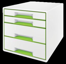 Pojemnik  Leitz Wow Cube, z 4 szufladami, A4+, biało-zielony