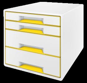 Pojemnik  Leitz Wow Cube, z 4 szufladami, A4+, biało-żółty
