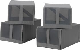 Pudełko na buty Skubb, 22x34x16 cm, 4 sztuki,  ciemnoszary