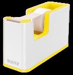 Podajnik do taśmy klejącej Leitz Wow + taśma 19mmx33mm, dwukolorowy, biało-żółty