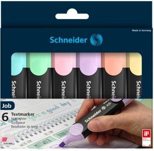 Zakreślacz Schneider Job Pastel, 5mm, ścięta, 6 sztuk, mix kolorów pastelowych