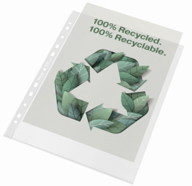 Koszulki groszkowe Esselte Recycled Premium, A4, 70µm, 100 sztuk, transparentny