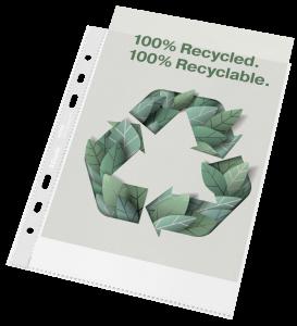 Koszulki groszkowe Esselte Recycled Premium, A5, 70µm, 100 sztuk, transparentny