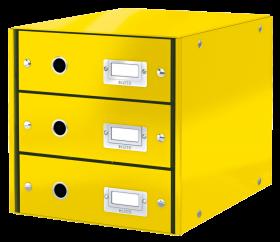Pojemnik Leitz Click&Store Wow, z 3 szufladami, do dokumentów, A4, żółty