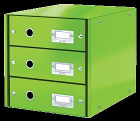 Pojemnik Leitz Click&Store Wow, z 3 szufladami, do dokumentów, A4, zielony