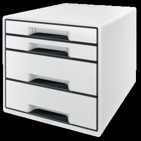 Pojemnik Leitz Wow Cube, z 4 szufladami, A4+, biało- czarny