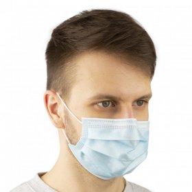 Maseczka ochronna medyczna EN14683-2019, trójwarstwowa, 50 sztuk, niebieski (c)