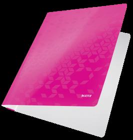 Skoroszyt kartonowy bez oczek Leitz Wow, A4, do 250 kartek, 80g/m2, różowy