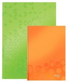 Zestaw: Brulion w kratkę Leitz Wow A4 twarda oprawa 80 kartek, zielony + Brulion w kratkę Leitz Wow A5 80 kartek, pomarańczowy