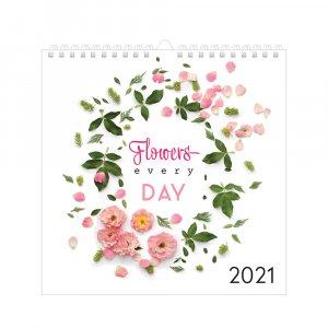Kalendarz ścienny Interdruk 2021, 320x320mm, Kwiaty