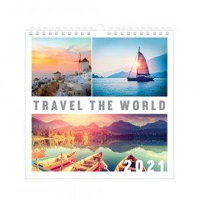 Kalendarz ścienny Interdruk 2021, 320x320mm, Podróż