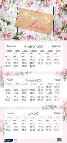 Kalendarz ścienny Interdruk 2021, 320x670 mm, trójdzielny, kwiaty