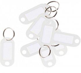 Zawieszki do kluczy D.Rect, plastik, 10 sztuk, biały