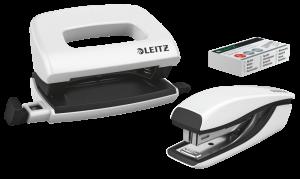 Zestaw zszywacz i dziurkacz Leitz Mini Wow, metalowy, biały
