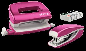 Zestaw zszywacz i dziurkacz Leitz Mini Wow, metalowy, różowy