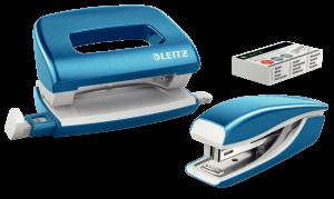 Zestaw zszywacz i dziurkacz Leitz Mini Wow, metalowy, niebieski