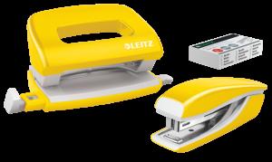 Zestaw zszywacz i dziurkacz Leitz Mini Wow, metalowy, żółty