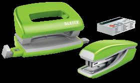 Zestaw zszywacz i dziurkacz Leitz Mini Wow, metalowy, zielony