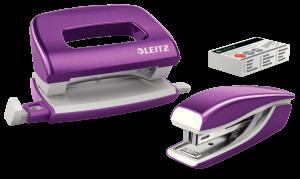 Zestaw zszywacz i dziurkacz Leitz Mini Wow, metalowy, fioletowy
