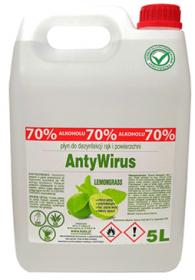 Płyn do dezynfekcji rąk i powierzchni Kala AntyWirus Lemongrass, 70% alk., 5l (c)