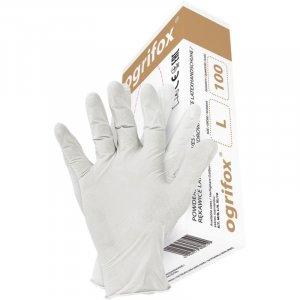 Rękawice lateksowe Ogrifox, rozmiar L, pudrowane, 100 sztuk, biały (c)