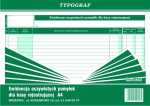 Druk akcydensowy Typograf, Ewidencja oczywistych pomyłek dla kasy rejestrującej, A4, 50k
