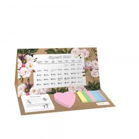 Kalendarz biurkowy Interdruk 2021, z karteczkami, miesięczny, botanic