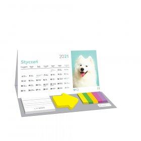 Kalendarz biurkowy Interdruk 2021, z karteczkami, miesięczny, puppy