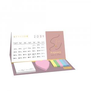 Kalendarz biurkowy Interdruk 2021, z karteczkami, miesięczny, motywacyjny