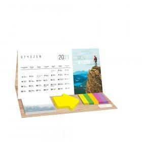 Kalendarz biurkowy Interdruk 2021, z karteczkami, miesięczny, travel