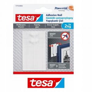 Gwóźdź samoprzylepny do tapet Tesa, 2 sztuki + 6 plastrów, biały