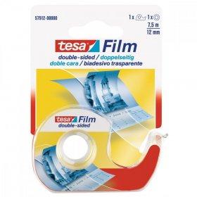 Podajnik do taśmy klejącej Tesa Film + taśma dwustronna 12mmx7.5m, transparentny