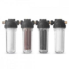 Zestaw 4 filtrów przepływowych wraz z obudowami: 2x polipropylenowy, 1x żywiczny, 1x węglowy + komplet śrubunków, złączek oraz klucz