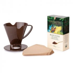 Zestaw do zaparzania kawy Vaspiatta Brazil Santos: kawa mielona Vaspiatta Brazil Santos 250g- 1 sztuka/filtry papierowe- 25 sztuk/ dripper- 1 sztuka